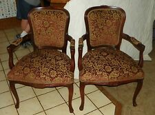 Pair of Mahogany Carved Parlor Chairs / Armchairs  (AC96)