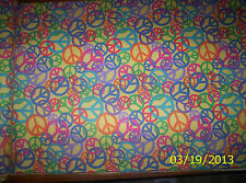 New Yellow with Multi Color Peace Signs Flannel Fabric by the 1/2 yard