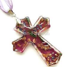 Gold Purple Cross Lampwork Glass Murano Bead Pendant Ribbon Wax Cord Necklace