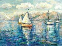 "Sailboat Painting Nautical Seascape Impressionism ""Impasto"" Original USA Artist"
