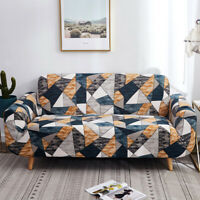 1/2/3/4 Seater Spandex Stretch Sofa Cover Geometric Printed Couch Slipcover Home