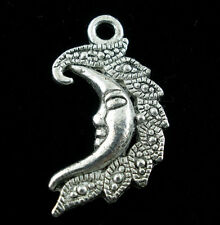 20 Pendentifs Charms Lune Face 27x15mm