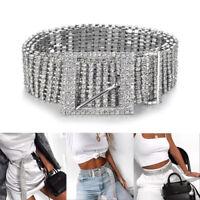 S / L Argent Complet Strass Diamante Dames Taille Charm Ceinture Accessoire Mode