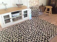 ❤️Grey White Pom Pom Felt Wool Ball Rug Rectangle 120cm x 180cm Hand Made Indian