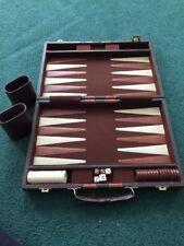 Vintage Backgammon Set Brown/Cream Pieces Travel Briefcase Attache