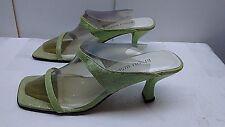 Bisou Bisou Light Green Leather Heel Slide Mule Sandal Casual Women Shoe 8.5M 39