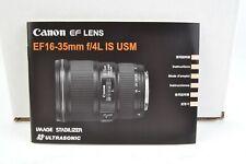 Canon Lens EF16-35mm F4L IS USM Instruction Manual User Guide VGC (389)