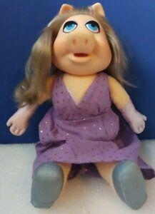 "Vintage 1980 Fisher Price Purple Dress 13"" Miss Piggy Plush Doll"
