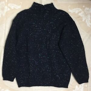 Vintage 80s ESPRIT Sweater S Black Confetti Wool Mohair Relaxed Oversized Pocket