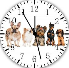 "Cute Puppies Dogs wall Clock 10"" will be nice Gift and Room wall Decor E210"