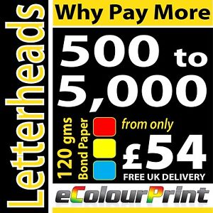 A4 Letterheads / Invoices on 120gms Bond / Wove - Full Colour 1 or 2 Sided