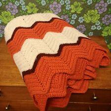 Vintage Orange & White Zig Zag Stripe Knitted Crochet Wool Blanket / Throw