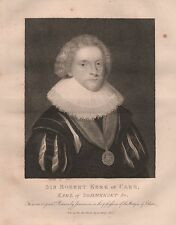 1807 ANTIQUE PRINT PORTRAIT OF SIR ROBERT KERR or CARR, EARL OF SOMERSET