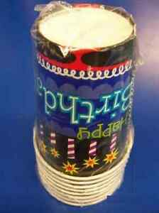 Oh No… Happy Birthday Black Over the Hill Cake Candles Party 9 oz. Paper Cups