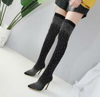 Womens Rhinestones Stilettos Pointed Toe Nightclub Shoes Over Knee Boots Ths01