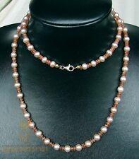 Rosa Süßwasser-Perlenkette mit Sonnenstein für Damen 84 cm - Gemini Gemstones