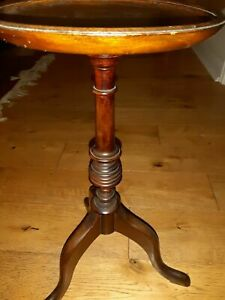 Small antique dark wood mahogany round pedestal Wine lamp side plant Table gc