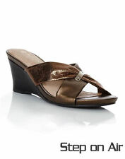 Autograph Bronze 6cm Wedge Heel Leather Sock Slide Sandal Shoes 9 Step on Air