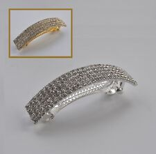 Large rectangular crystal/diamante hair clip/barrette. Silver or gold. Wedding