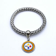 Pittsburgh Steelers Team Logo Charm Dangle Fashion Silver Tone Stretch Bracelet