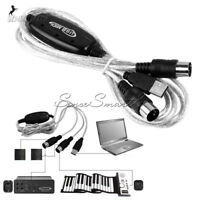 MIDI to USB Interface Cable Adapter for Keyboard Electronic Drum Music