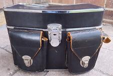 Vtg Camera Case-Black Genuine Top Grain Cowhide Leather-Handcrafted in Japan-Old