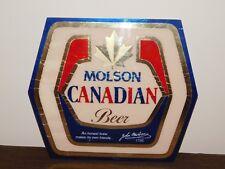 "VINTAGE BAR LIQUOR 13 3/4"" X 12"" MOLSON CANADIAN BEER CARDBOARD SIGN"