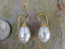18 KT Yellow Gold & Paspaley South Sea Pearl Earring Shepard Hook NEW 11 mm Fine