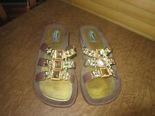 Grandco Women's Mystical Slide Sandals BROWN & GOLD JEWELS SIZE 7