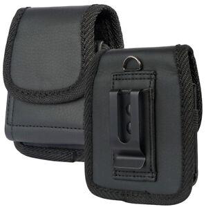 Black Leather Case Pouch Belt Loop Clip for Motorola RAZR Flip 5G (2019/2020)