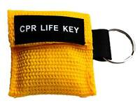 CPR / Resuscitation Face Shield in YELLOW Key Ring Pouch Ambulance 999 Resus