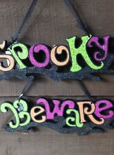 """""""BEWARE"""" or """"SPOOKY"""" GLITTER GISELA GRAHAM HALLOWEEN PARTY PLAQUE"""