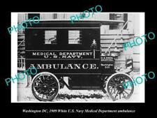 OLD POSTCARD SIZE PHOTO OF WASHINGTON DC US NAVY MEDICAL AMBULANCE c1909