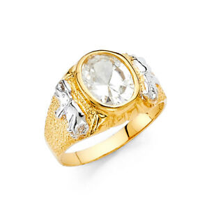 Women 14k Yellow White Real Gold BIG CZ Solitaire Elephant Fashion Ring Band
