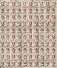 Pane of 100 USA Stamps 1859 American Silversmith Sequoyah -Brookman $62.50