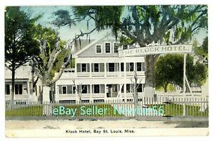 Bay Saint Louis Mississippi MS -KLOCK HOTEL- Postcard Rare View! ST nr Gulfport