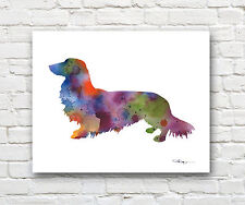 Long Haired Dachshund Abstract Watercolor 11 x 14 Art Print by Artist DJ Rogers