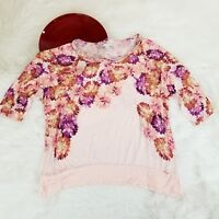 LC Lauren Conrad Womens Top Size XL Pink Floral Ruffle Wide Neck Dolman Sleeve