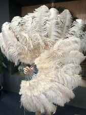 "24""x 43"" beige camel Marabou & Ostrich feathers fan with leather Travel Bag"