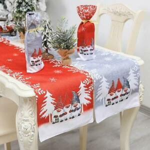 Christmas Swedish Gnome Table Runner Tablecloth Placemat Home Wedding Decoration