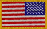 """50 Pcs Reverse USA Flag (G) Embroidered Patches 3.25""""x2"""" Iron-on"""