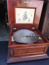 "15 1/2"" Regina Mahogany Double Comb Disc Music Box"