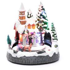 Village Noël éclairé musical mouvement carrosses 20x19x18 cm