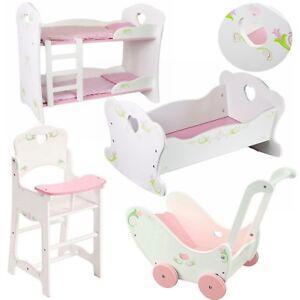 NEW Dolls Wooden Set High Chair Rocking Crib Cot Bed Pram Pushchair Girls Toy