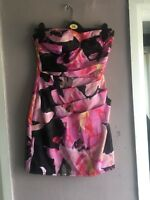 Lipsy Black/Pink Floral Silky Strapless Bodycon Occasion/Party Dress Size 10