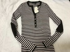 new Banana Republic white brown stripe stretch sweater top size small