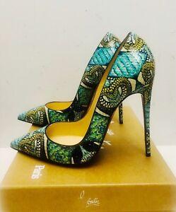 Christian Louboutin So Kate Python Inferno 120 Heels Pumps Shoes 38.5 NIB