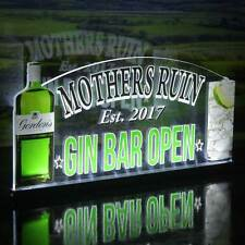 "Gin Bar Personalizado Home Bar LIGHT UP LED signo, Neón Gin signo, Bar Abierto signo, 12""x6"""