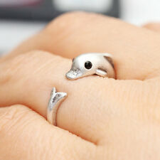 Black Setting Eye Dolphin Band Jewellery Rings Comfortable Lucky Animal Ring