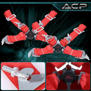 """2X Red 4 Point 2"""" Cam Center Lock Quick Release Nylon Seat Belt Harness Safety"""